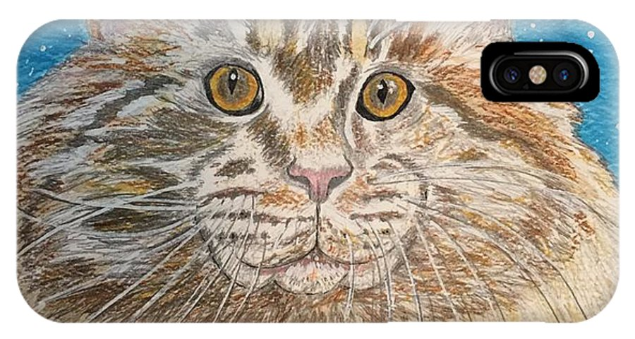 Maine IPhone X Case featuring the painting Maine Coon Cat by Kathy Marrs Chandler