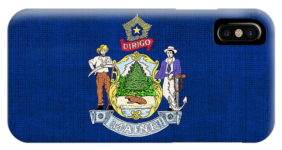 Maine IPhone X Case featuring the painting Maine State Flag by Pixel Chimp