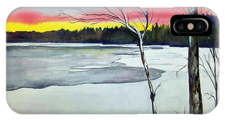 Landscape IPhone X Case featuring the painting Maine Winter Sunset by Brenda Owen