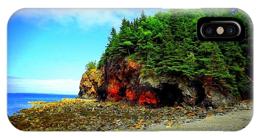 Landscape IPhone X Case featuring the photograph Maine's Rugged Shore by Dancingfire Brenda Morrell