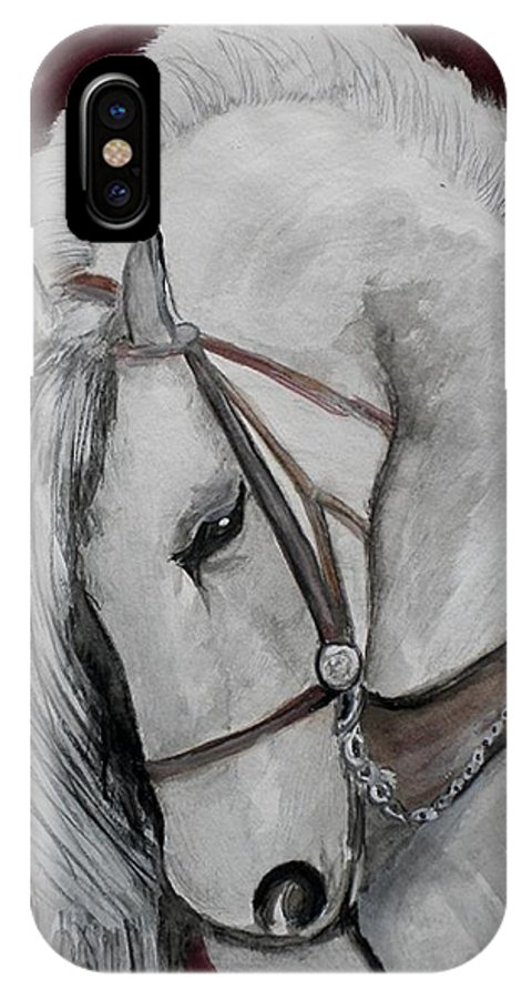 Horse IPhone X Case featuring the painting Majestc by Linda Waidelich