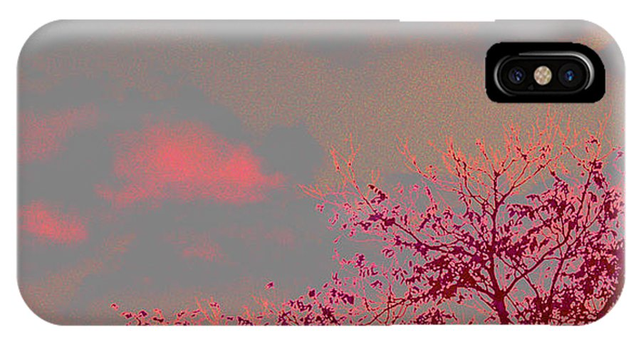 Landscape- Trees IPhone X / XS Case featuring the photograph Majestic Skies by Theresa Cummings