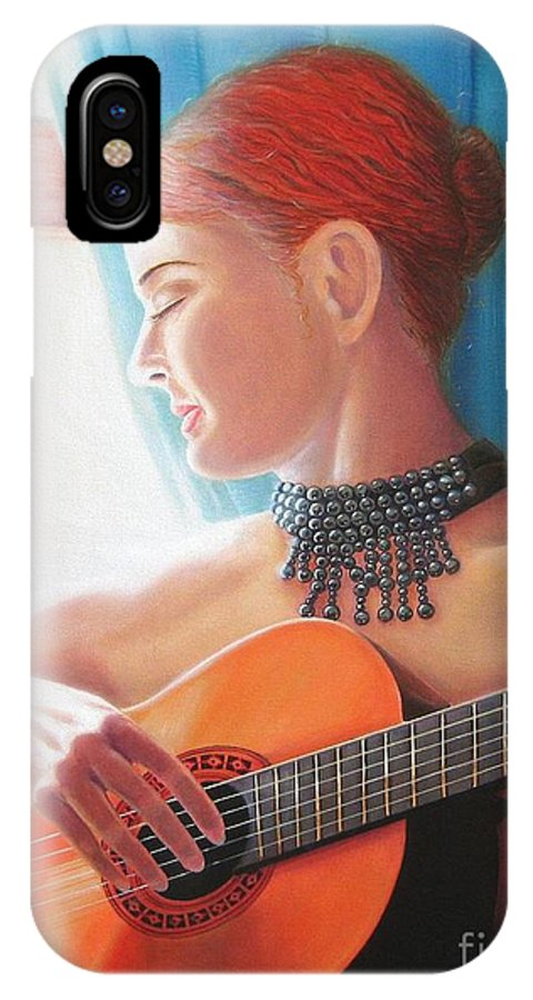 Malaguena IPhone X Case featuring the painting Malaguena by Oscar Arauz