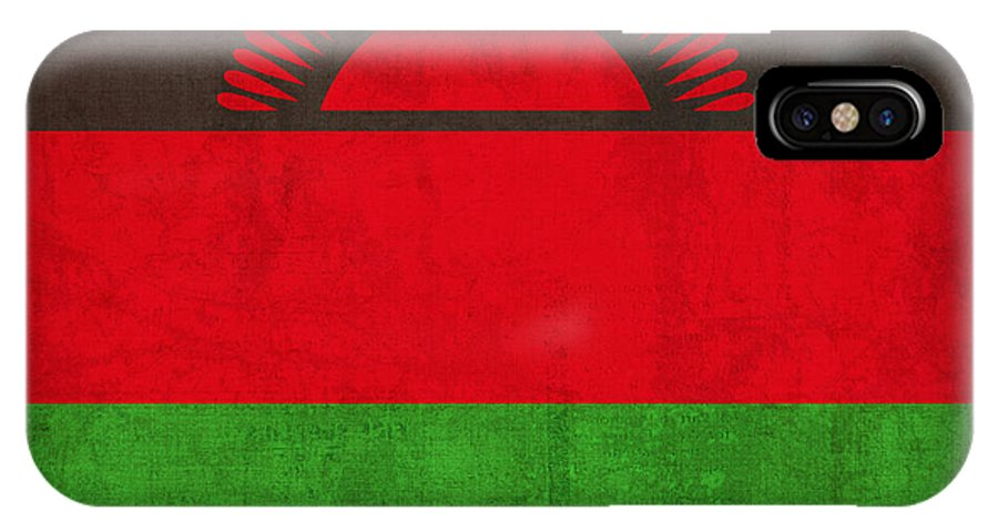 Malawi IPhone X Case featuring the mixed media Malawi Flag Vintage Distressed Finish by Design Turnpike