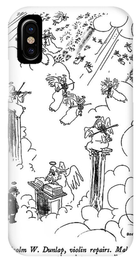 St. Peter To Man Entering Heaven IPhone X Case featuring the drawing Malcolm W. Dunlap by George Booth