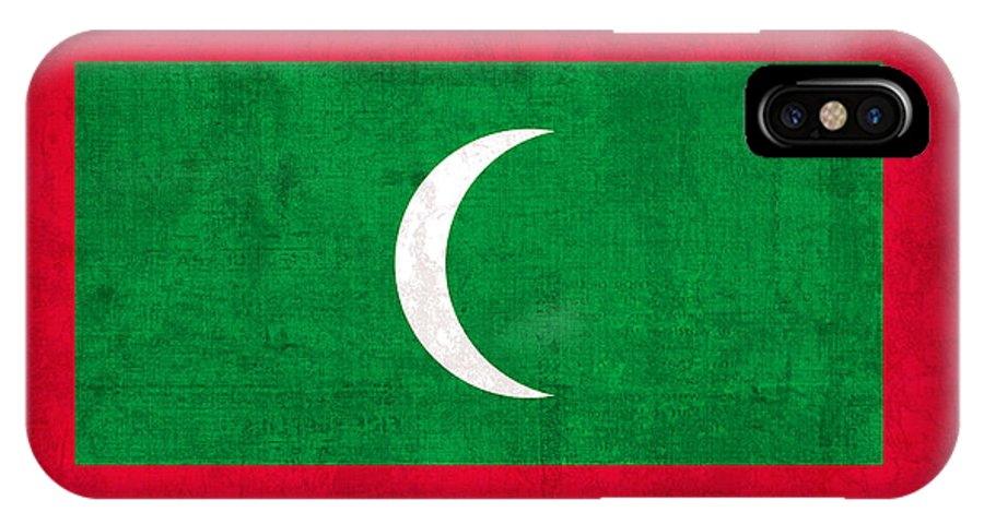 Maldives IPhone X Case featuring the mixed media Maldives Flag Vintage Distressed Finish by Design Turnpike