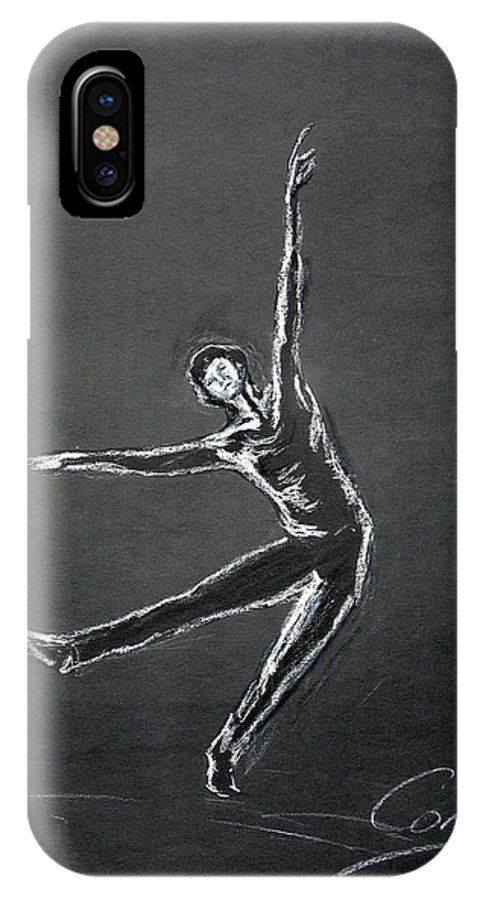 Male IPhone X Case featuring the drawing Male Dancer In White Lines On Black by Tom Conway