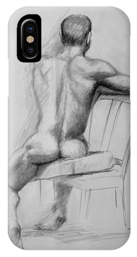 Male IPhone Case featuring the drawing Male Nude With Chair by Keith Burgess