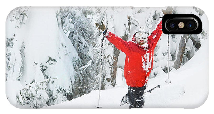 Horizontal IPhone X Case featuring the photograph Male Skier Throws His Hands by Craig Moore