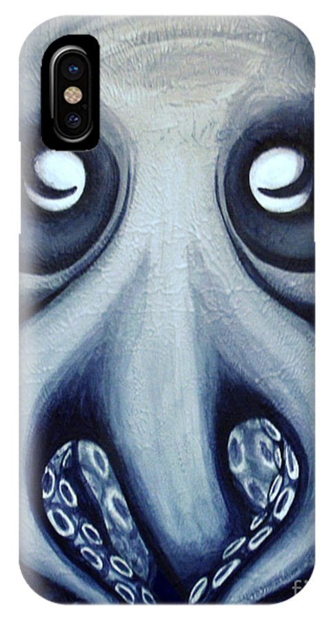 Octopus IPhone X Case featuring the painting Malekei The Octopi by Sweet Colene Art