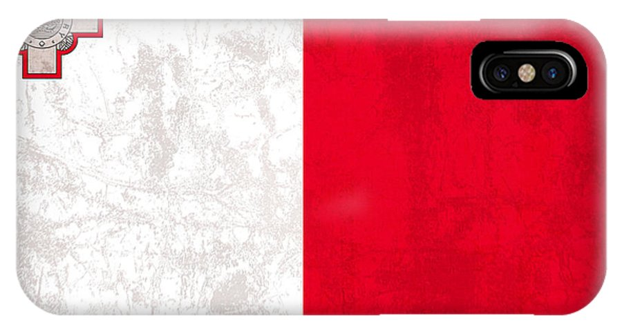 Malta IPhone X Case featuring the mixed media Malta Flag Vintage Distressed Finish by Design Turnpike