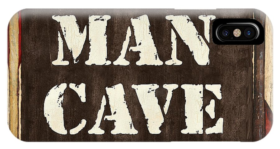 Man IPhone X Case featuring the painting Man Cave Do Not Disturb by Debbie DeWitt