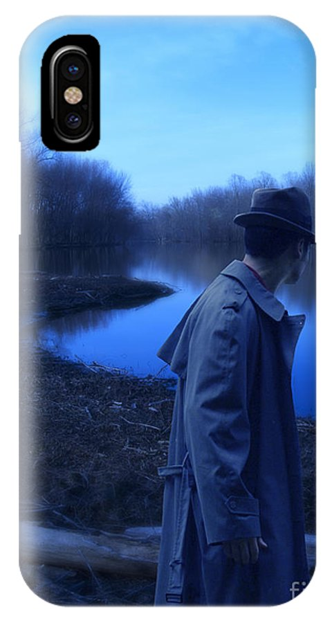 Man IPhone X Case featuring the photograph Man In Fedora By River by Jill Battaglia