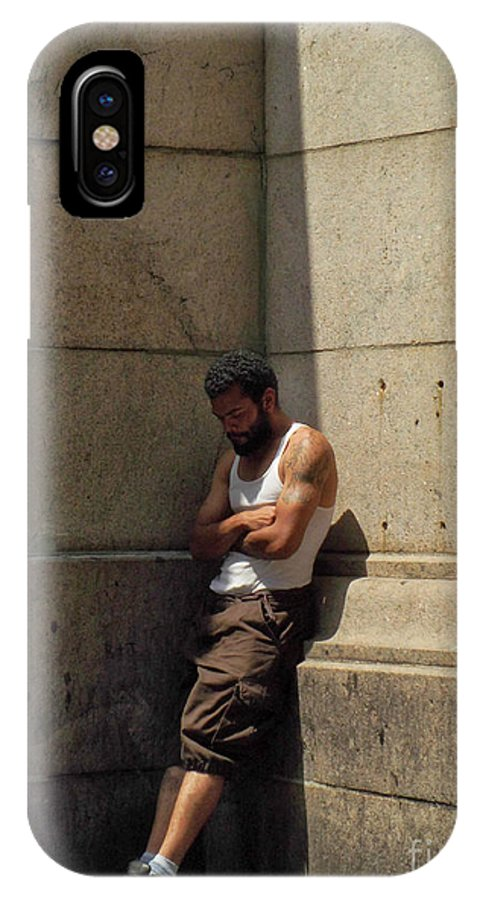 People IPhone X Case featuring the photograph Man Leaning Against Wall In Sun by Miriam Danar