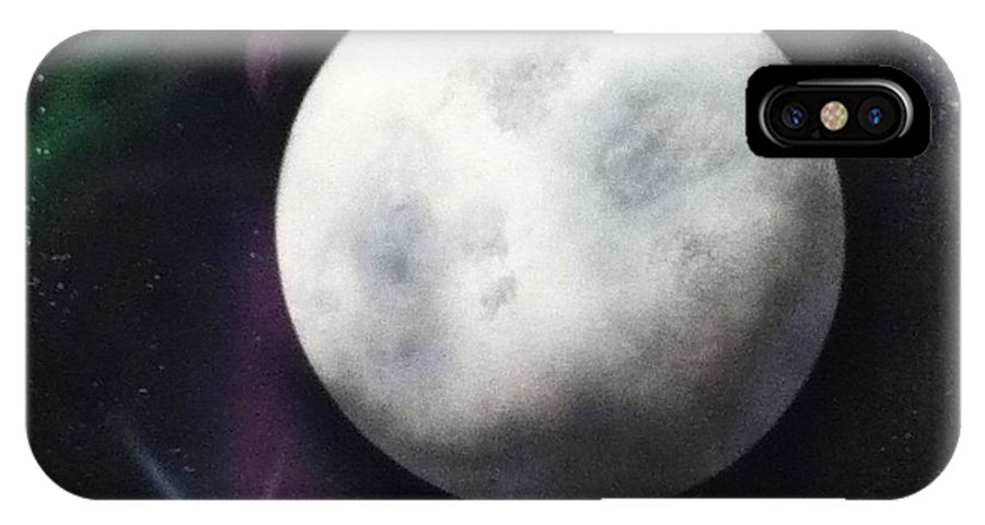 Moon IPhone X Case featuring the painting Man On The Moon by Angel Griffin