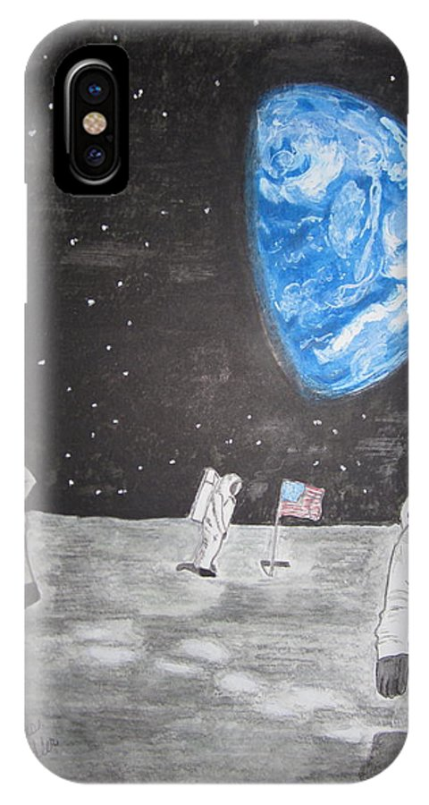Stars IPhone Case featuring the painting Man On The Moon by Kathy Marrs Chandler