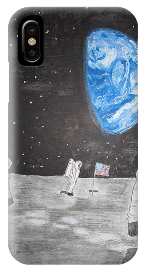 Stars IPhone X Case featuring the painting Man On The Moon by Kathy Marrs Chandler