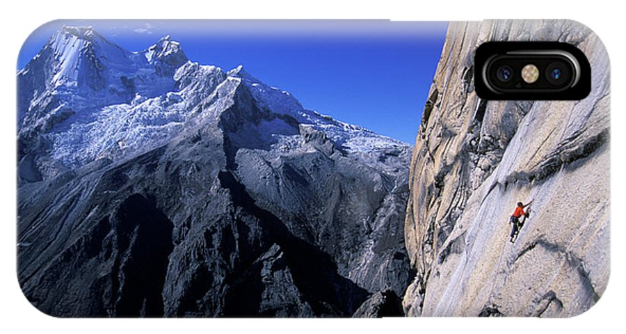 Alpine IPhone X Case featuring the photograph Man Rock Climbing by Corey Rich
