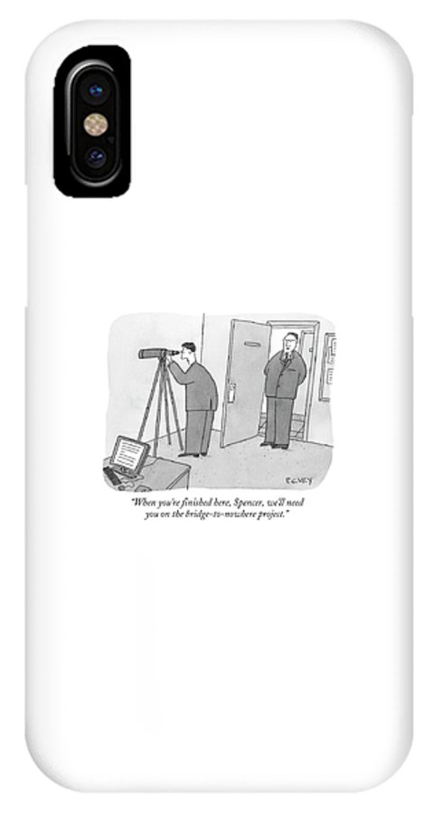 Spy IPhone X Case featuring the drawing Man Stares At Wall With Telescope by Peter C. Vey