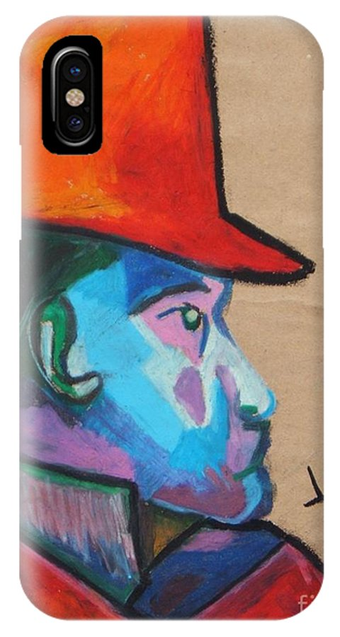 Abstract Portrait IPhone X Case featuring the drawing Man With Top Hat by Jon Kittleson