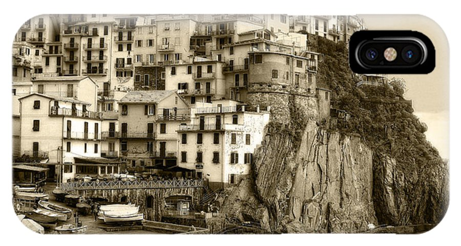 Italy IPhone X Case featuring the photograph Manarola Italy Sepia by Timothy Hacker