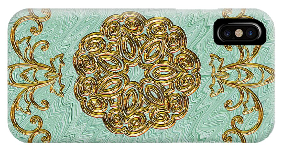 Gold IPhone X Case featuring the digital art Mandala #114 by Pat Follett