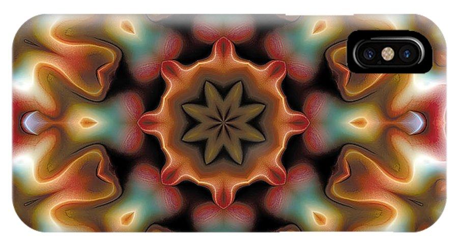 Tibetan Art IPhone X Case featuring the digital art Mandala 95 by Terry Reynoldson
