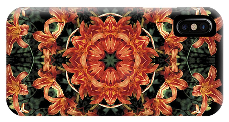 Mandala IPhone X Case featuring the photograph Mandala Daylily by Nancy Griswold