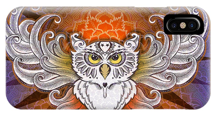 Owl IPhone X Case featuring the mixed media Mandala Owl by Julie Oakes