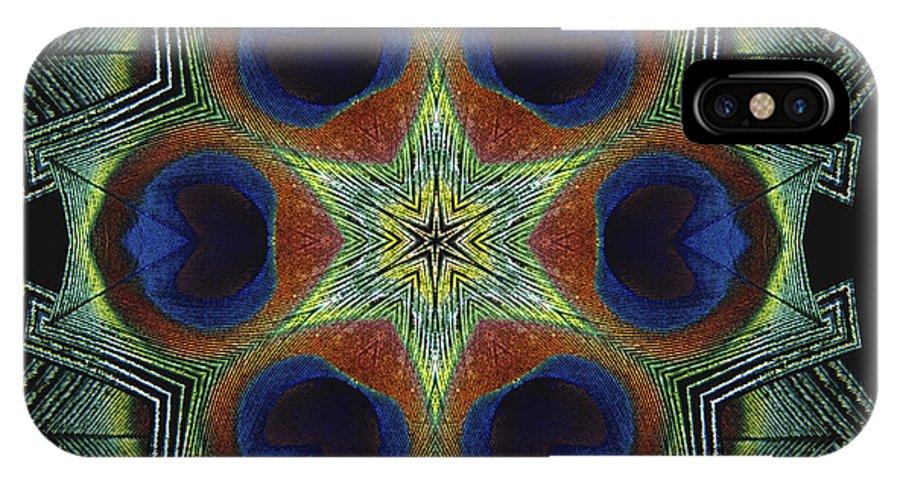 Mandala IPhone Case featuring the digital art Mandala Peacock by Nancy Griswold