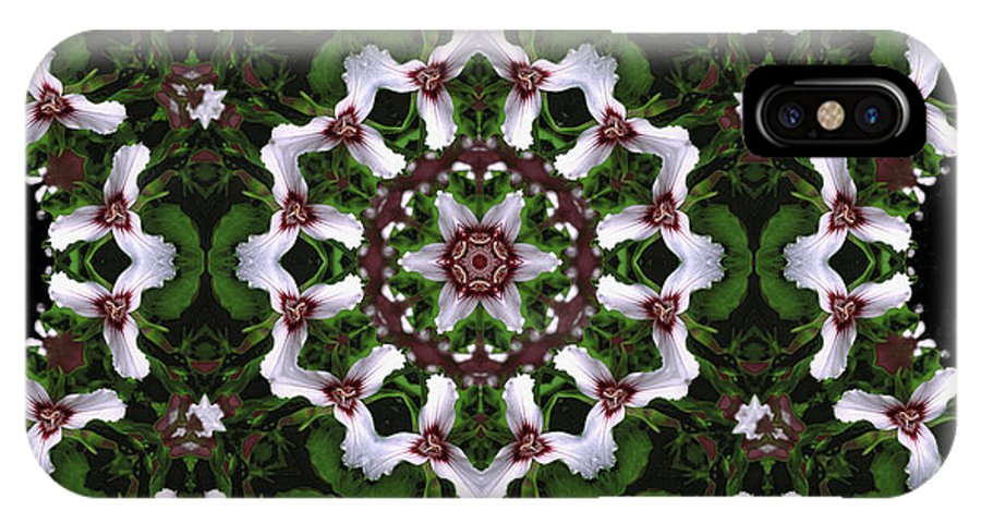 Mandala IPhone X Case featuring the digital art Mandala Trillium Holiday by Nancy Griswold