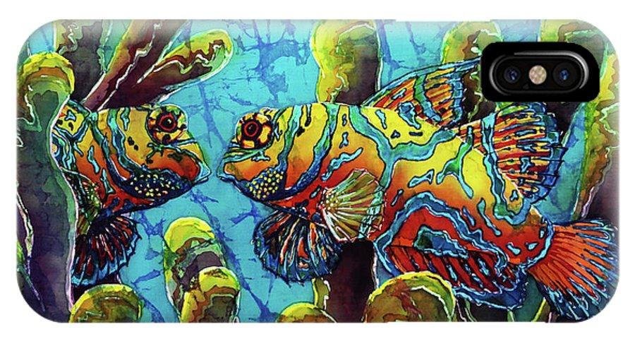 Mandarinfish IPhone X Case featuring the painting Mandarinfish by Sue Duda