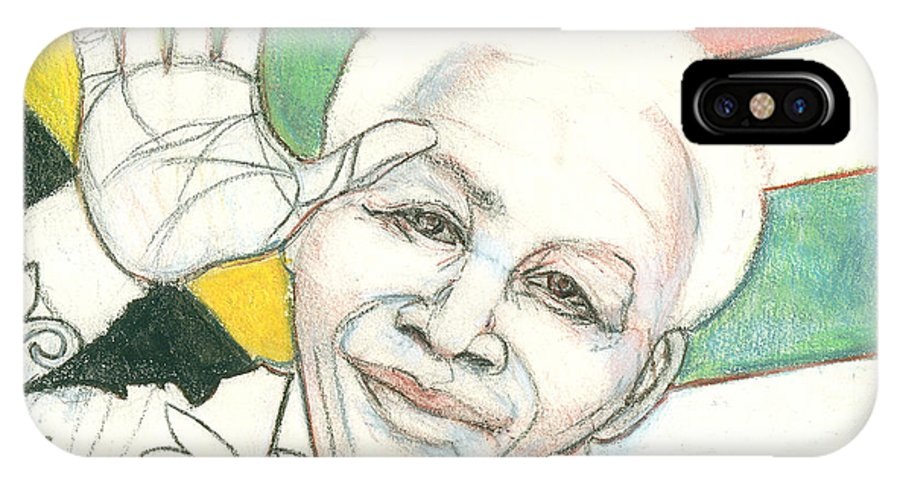 Portrait Drawing IPhone X Case featuring the drawing Mandela's Blooming Shirt by Kippax Williams