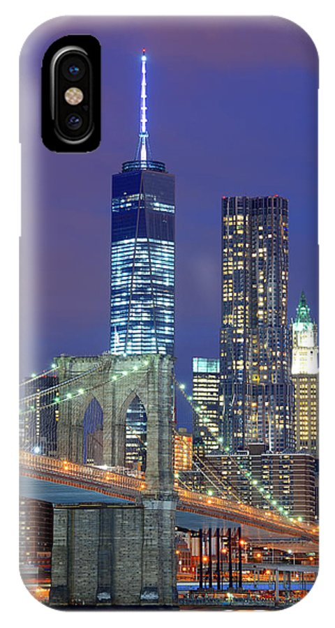 New York City IPhone X Case featuring the photograph Manhattan At Night by Songquan Deng