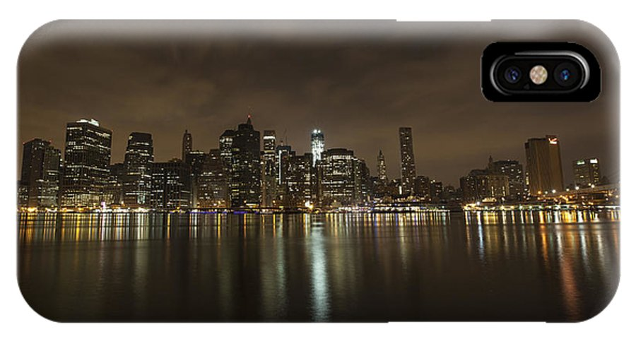 Landscape IPhone X Case featuring the photograph Manhattan Night View by Boris Blyumberg