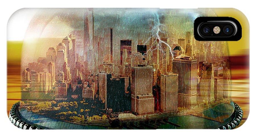 Manhattan IPhone X Case featuring the digital art Manhattan Under The Dome by Marian Voicu