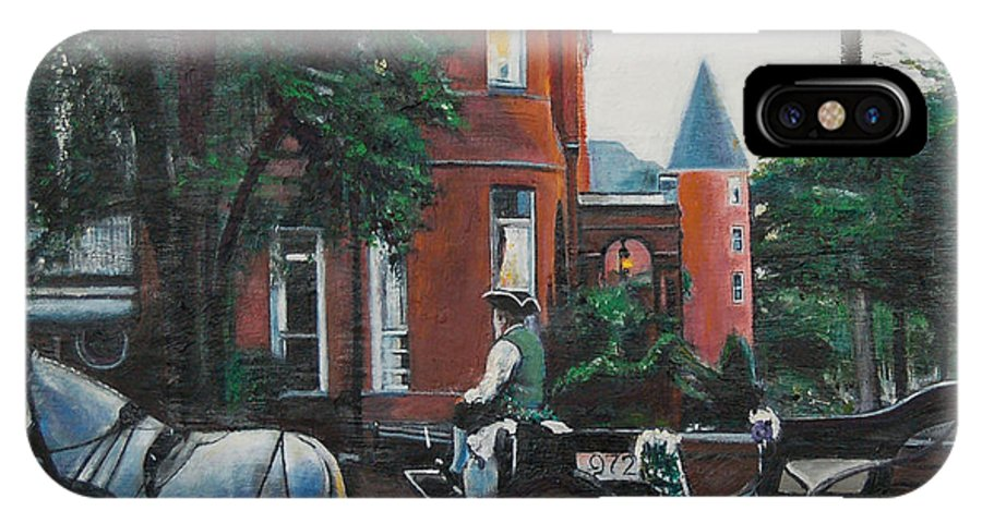 IPhone Case featuring the painting Mansion On Forsythe Savannah Georgia by Jude Darrien