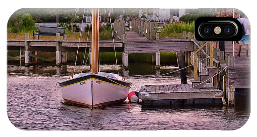 Solitary Sailboat IPhone X Case featuring the photograph Manteo Harbor by Allen Beatty
