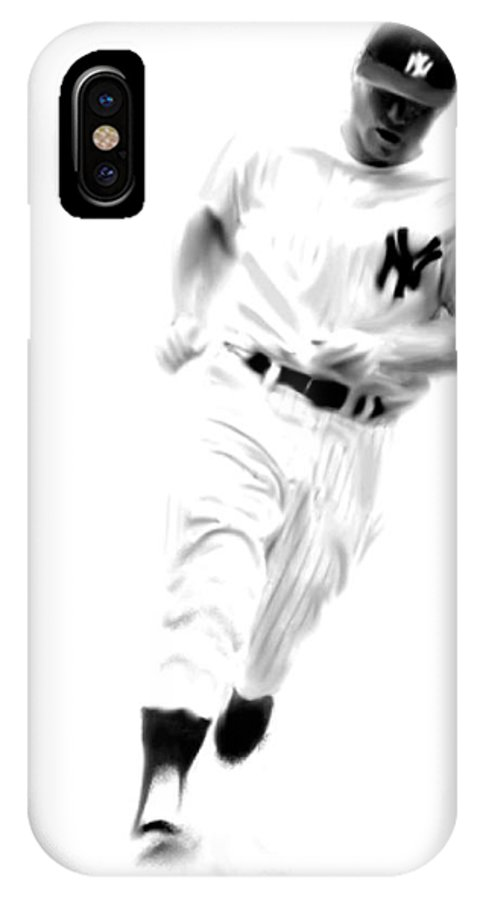 Mickey Mantle Art Paintings Paintings Paintings IPhone X Case featuring the drawing Mantles Gate Mickey Mantle by Iconic Images Art Gallery David Pucciarelli