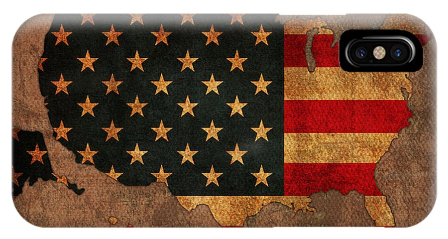Map Of America United States Usa With Flag Art On Distressed Worn Canvas IPhone X Case featuring the mixed media Map Of America United States Usa With Flag Art On Distressed Worn Canvas by Design Turnpike