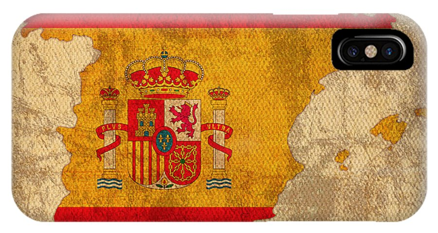 Map Of Spain With Flag Art On Distressed Worn Canvas IPhone X Case featuring the mixed media Map Of Spain With Flag Art On Distressed Worn Canvas by Design Turnpike