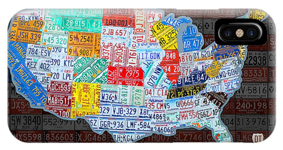 Map Of The United States In Vintage License Plates On American Flag - Vintage iowa map