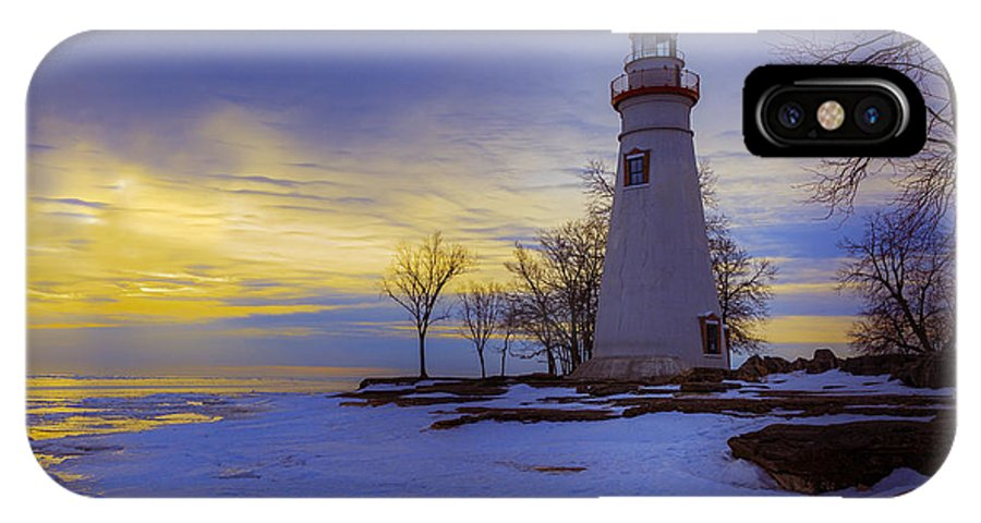 Erie IPhone X Case featuring the photograph Marblehead Lighthouse Winter Sunrise by Jack R Perry