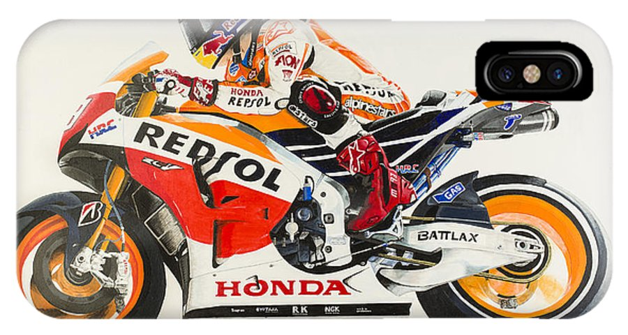Marc Marquez IPhone X Case featuring the painting Marc Marquez by John Savage