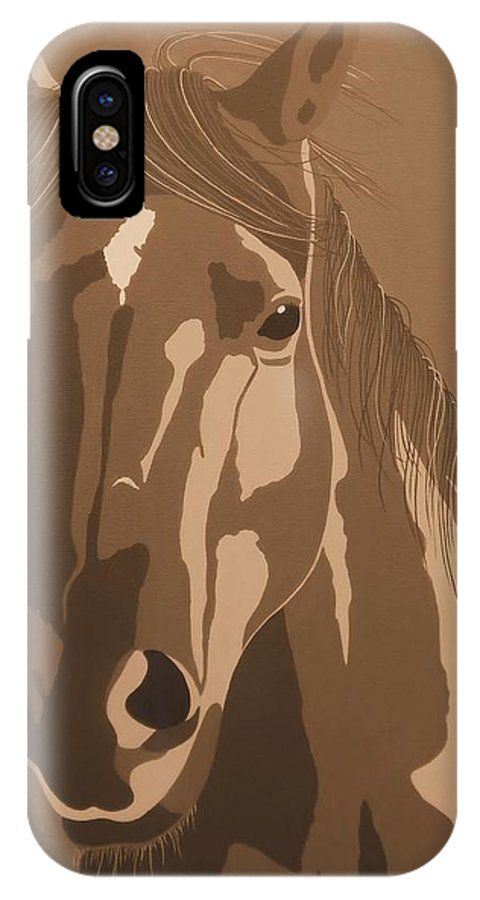 Horse IPhone X Case featuring the painting Mare In Sepia by Julie Stubbs