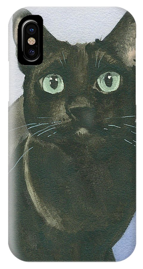 Cat IPhone X Case featuring the painting Margy by Christine Winship