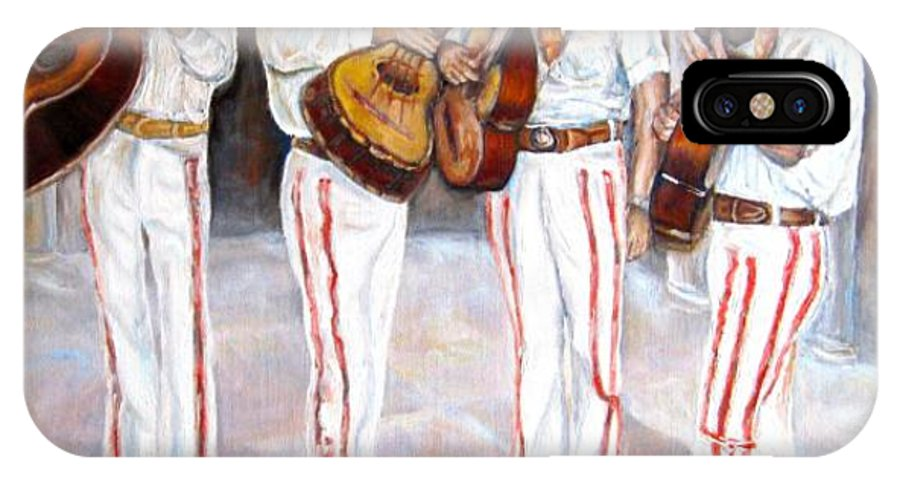 Mariachis IPhone X Case featuring the painting Mariachi Musicians by Carole Spandau