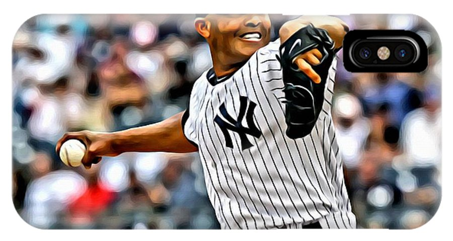 Mlb IPhone X Case featuring the painting Mariano Rivera Painting by Florian Rodarte
