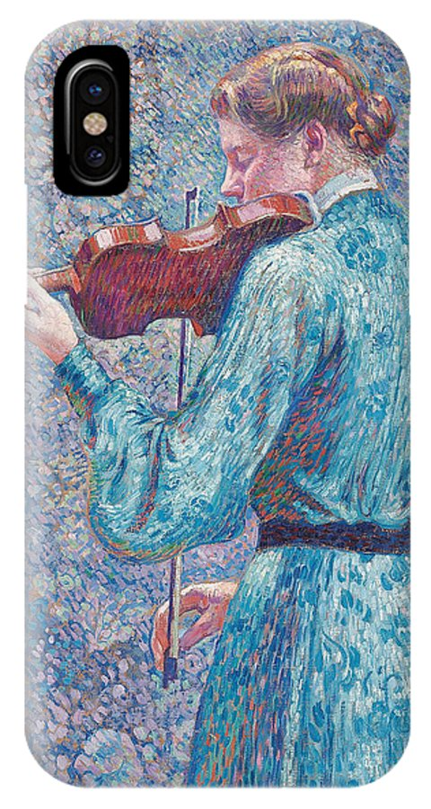 Marie-anne Weber Playing The Violin IPhone X Case featuring the painting Marie Anne Weber Playing The Violin by Theo van Rysselberghe
