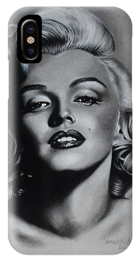Marilyn IPhone X Case featuring the drawing Marilyn 4 by Samantha Howell